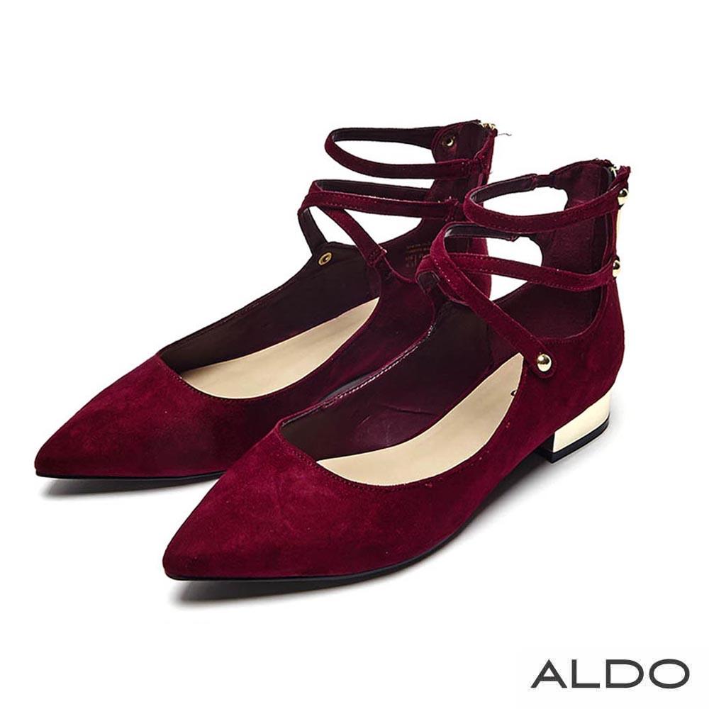 ALDO 原色尖頭交叉鏤空繫踝鉚釘跟鞋~名媛紅色