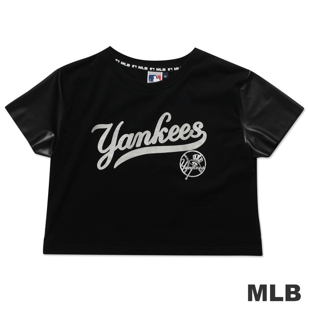 MLB-紐約洋基隊短版皮袖印花T恤-黑(女)