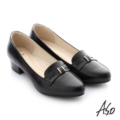 A.S.O 舒適通勤 真皮蝴蝶結奈米低跟鞋 黑色
