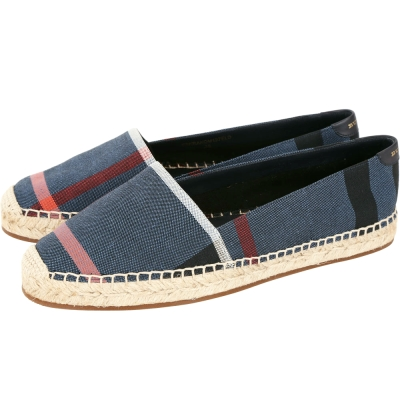BURBERRY 格紋亞麻棉質草編鞋(女鞋/藍色)