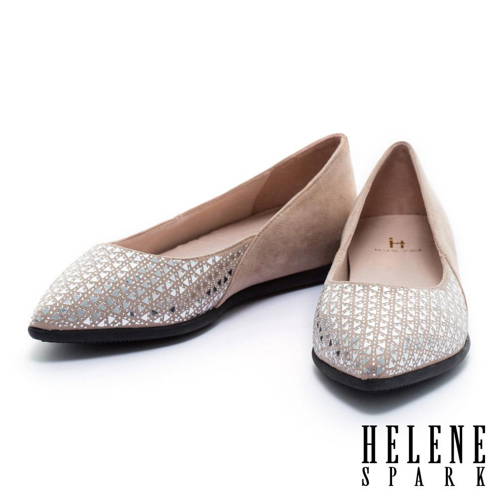 平底鞋 HELENE SPARK 時尚幾何晶鑽麂布尖頭平底鞋-粉