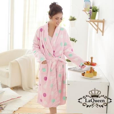 睡衣   繽紛點點雙面水貂絨睡袍-圓點粉 La Queen