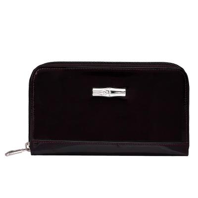 LONGCHAMP 經典Roseau Box系列漆皮拉鍊手拿長夾(茄紫色) @ Y!購物