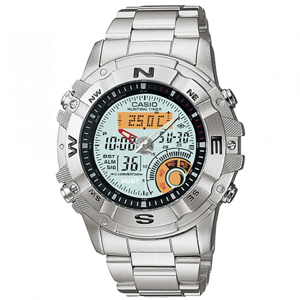 CASIO 全方位競速雙顯鋼帶錶(AMW-704D-7A)-白/44mm