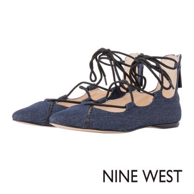 NINE-WEST-尖頭綁帶平底鞋-丹寧藍