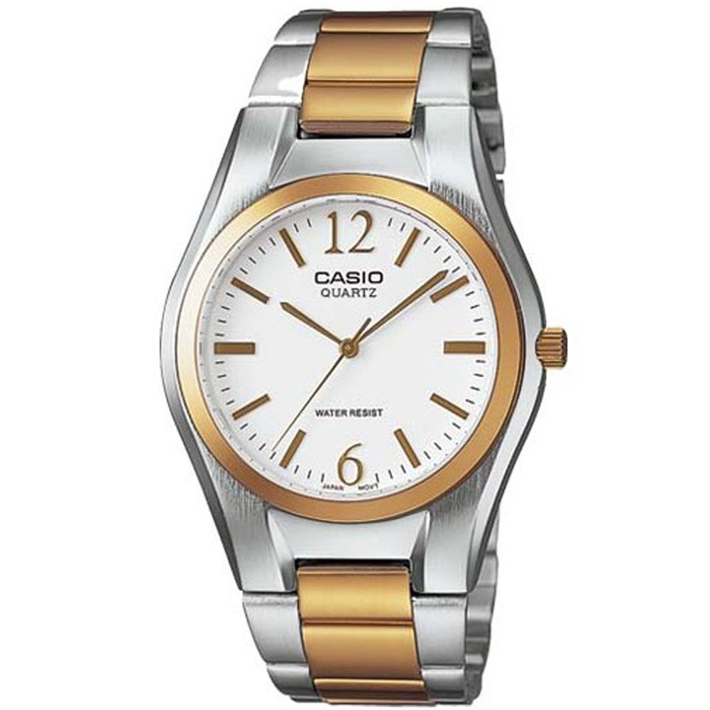 CASIO 富豪金銀時尚指針紳士錶(MTP-1253SG-7A)-白面