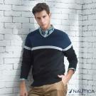 Nautica 拼接造型長袖針織衫-藍