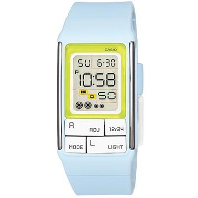 CASIO 太空漫步幾何方塊數字錶(LDF- 51 - 2 A)-粉藍/ 23 . 6 mm