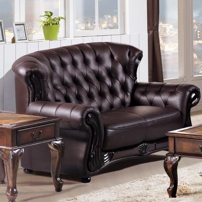 AS -維奧拉咖啡色兩人座皮沙發
