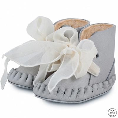 Donsje 荷蘭 灰色款內刷毛網紗緞帶蝴蝶結真皮寶寶綁帶靴子