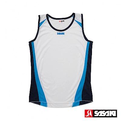 SASAKI 吸濕排汗田徑背心-女-白/鮮藍/丈青