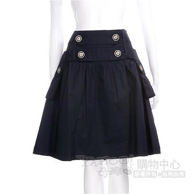 PAOLA FRANI 深藍色鈕釦造型口袋及膝裙
