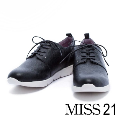 休閒鞋 MISS 21 細緻簡約純色綁帶厚底休閒鞋-黑