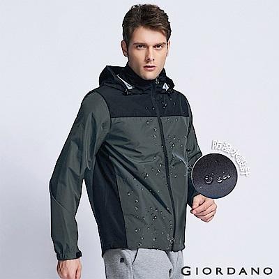 GIORDANO 男裝撞色立領防風防潑水連帽風衣外套 - 07 鋼鐵灰/標誌黑色