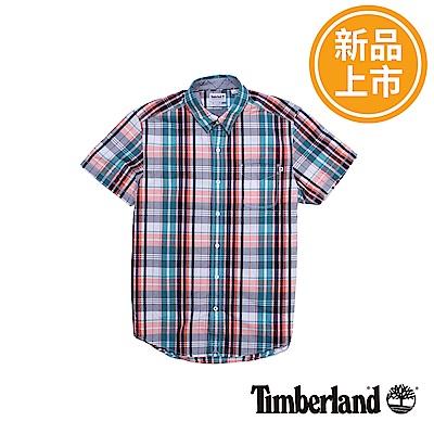 Timberland 男款航海藍Still River短袖格紋襯衫