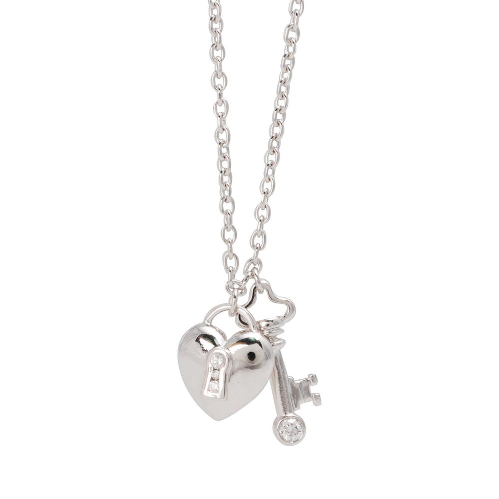 TIFFANY&Co. PT950心形鑰匙鑲鑽吊墜項鍊(銀)