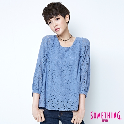 SOMETHING-氣質蕾絲圓領襯衫-女-藍色