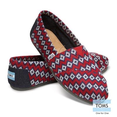 TOMS 經典圖騰針織懶人鞋-女款(紅)