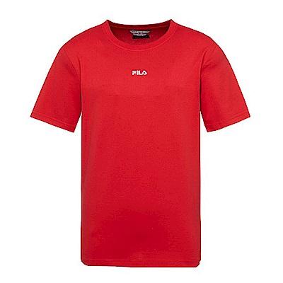 FILA x plain-me 聯名系列 短袖圓領T恤-紅1TES-1483-RD
