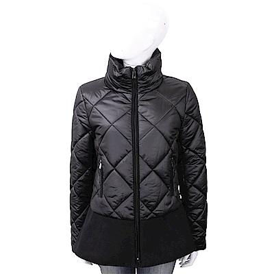 TRUSSARDI 太空棉荷葉擺黑色菱格絎縫科技棉保暖外套