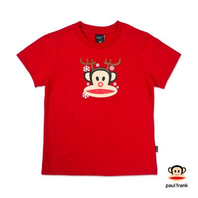 PAUL FRANK-聖誕麋鹿Julius印花短袖T恤-紅(女)