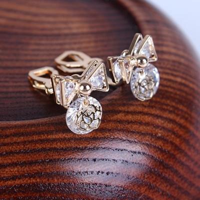 梨花HaNA-無耳洞韓國鍍真金水晶玫瑰印記耳環夾式