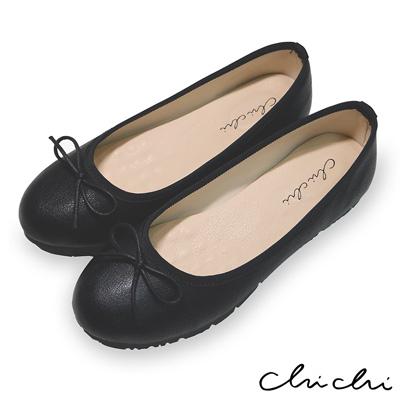 Chichi 舒適首選 素面百搭蝴蝶結娃娃鞋*黑色