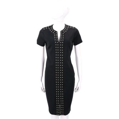 Michael Kors 黑色鉚釘飾邊前開叉短袖洋裝