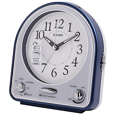 SEIKO精工 18首可選式旋律 滑動式秒針 夜光貪睡鬧鐘-白