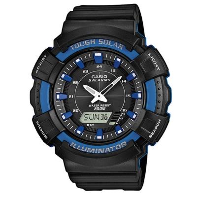 CASIO 太陽能全方位多機能雙顯運動錶-黑/藍框-48mm