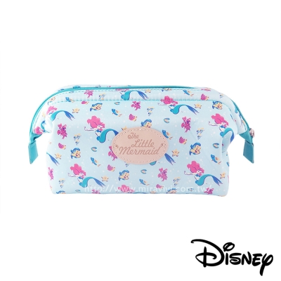 Disney迪士尼緞面滿版碎花大開口立體化妝包/萬用包-小美人魚