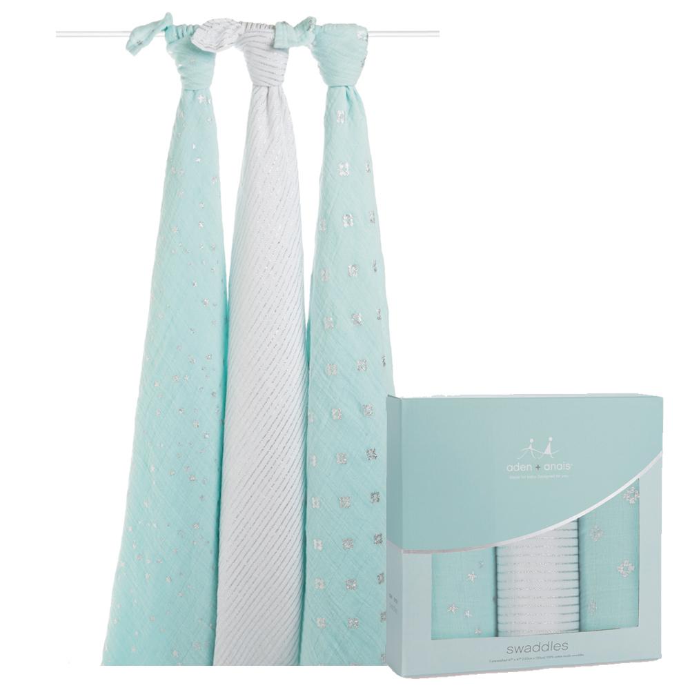 【美國aden+anais】輕柔新生兒包巾(3入)-天光藍系列AA4503