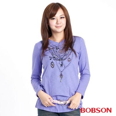 BOBSON  女款鍊飾印圖長袖上衣