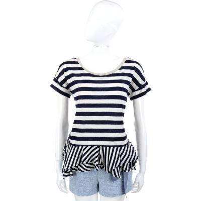 SCERVINO 藍白條紋不規則下襬露背麻料T恤