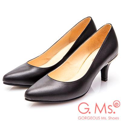 G.Ms. MIT系列-牛皮尖頭後跟鑽飾靜音高跟鞋-黑色
