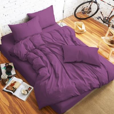 舒柔 精梳棉 二件式枕套床包組 單人 淺紫 提案