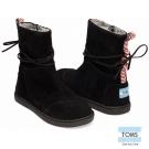 TOMS 皮繩麂皮雪靴-孩童款(黑)