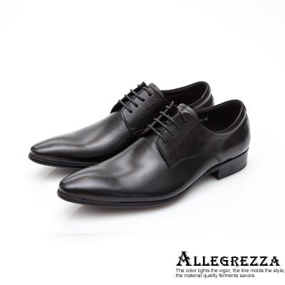 ALLEGREZZA-真皮男鞋-品味出眾-素雅綁帶尖頭皮鞋  黑