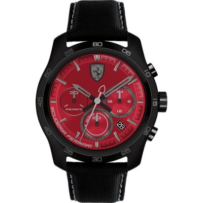Scuderia Ferrari 法拉利 PRIMATO 計時手錶-紅x黑框/44mm