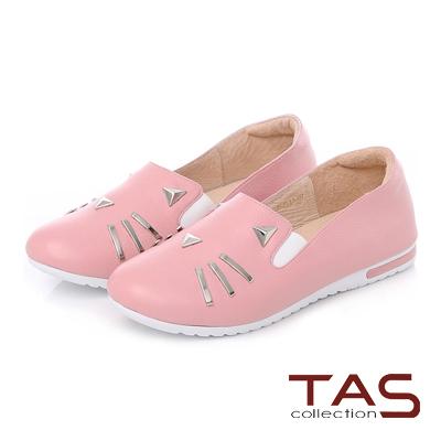 TAS 鉚釘貓咪造型真皮平底休閒鞋-甜心粉