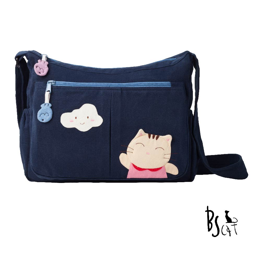ABS貝斯貓 可愛貓咪拼布 肩背包 斜揹包 (藍) 88-210 @ Y!購物
