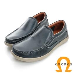 GEORGE-經典素面柔軟面料真皮帆船鞋-藍色