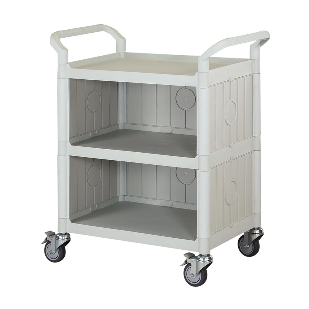 100%台灣製 標準多功能三層三面圍邊工具餐車/手推車/置物架-優雅白