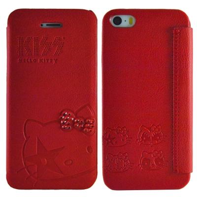 Aztec 凱蒂貓 Apple iPhone5/5S/SE 側掀式皮套-鑽結紅