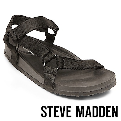 STEVE MADDEN-CRICKET-運動透氣織帶平底涼鞋-黑色