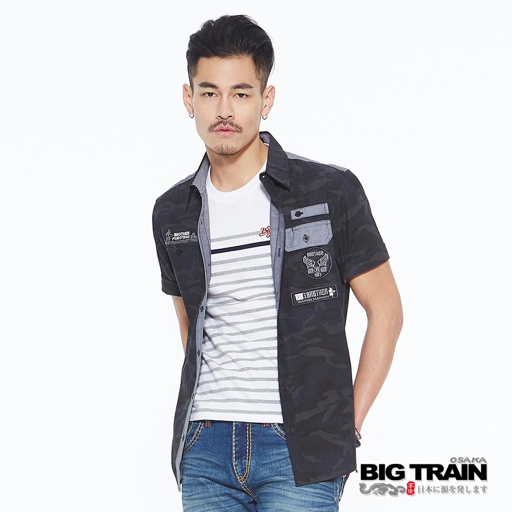BIG TRAIN 迷彩印花貼標短袖襯衫-男-黑咖迷彩