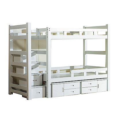 品家居 贊娜3.5尺實木單人收納雙層床台組合-251x110x180cm免組