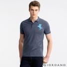 GIORDANO 男裝拿破崙刺繡彈性POLO衫-50 藍白混紗色