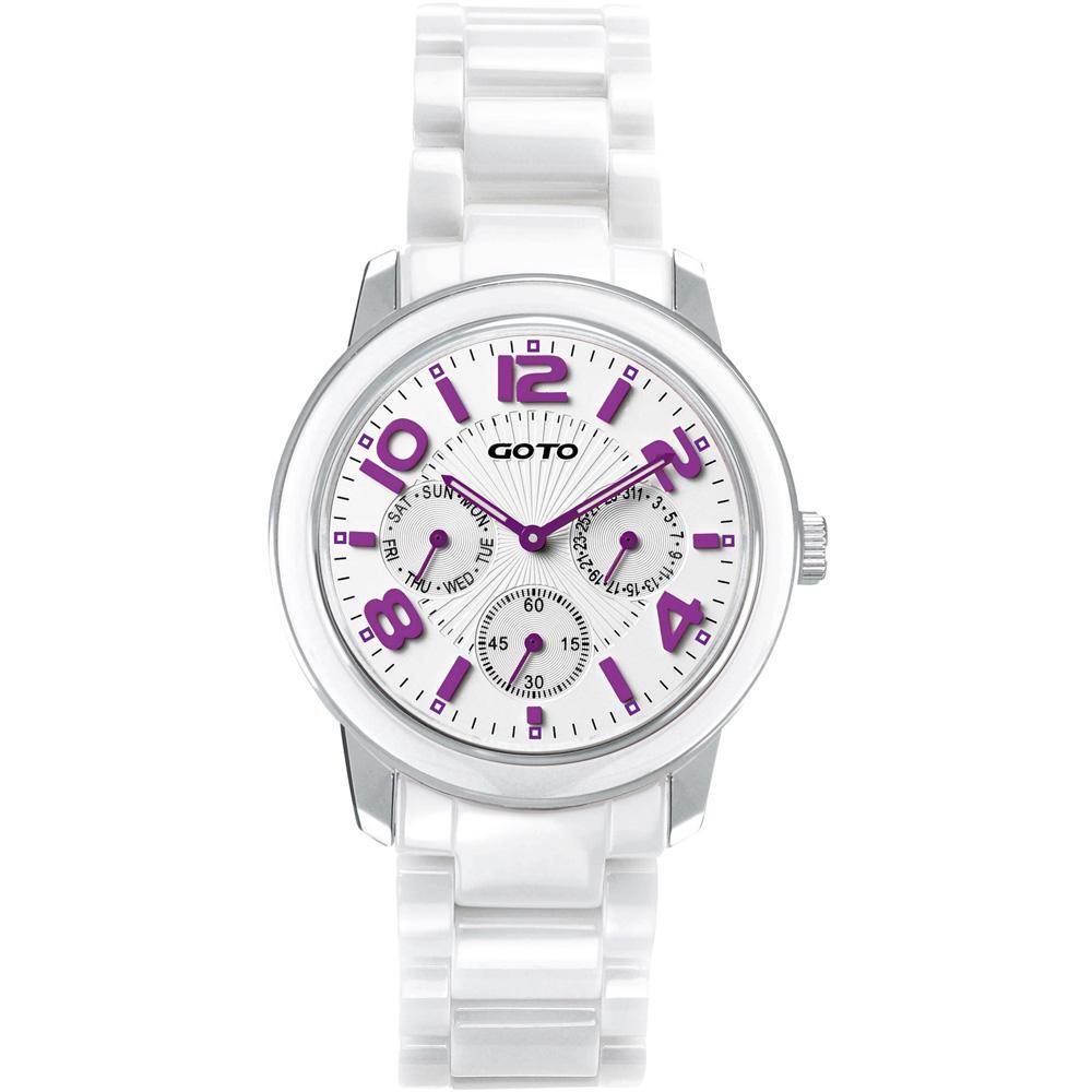 GOTO 躍色潮流全日曆陶瓷腕錶-白x紫/40mm
