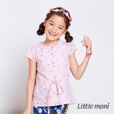 Little moni 法式小花小包袖襯衫 粉紅
